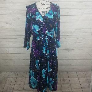 Lane Bryant Floral Ruffle Dress Size 14/16